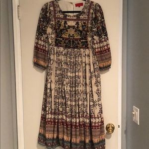 Beaded silky anthro dress